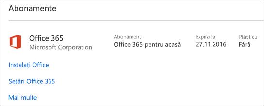 Dacă versiunea dvs. de încercare Office 365 a fost instalată pe PC-ul nou, aceasta va expira la data afișată