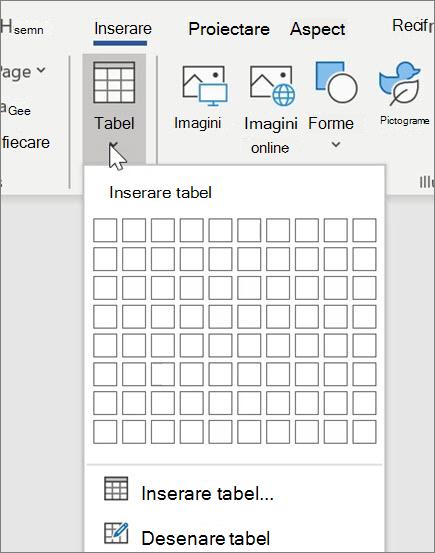 Inserarea tabelelor în Word