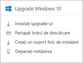 Windows 10 Upgrade cartea în centrul de administrare.