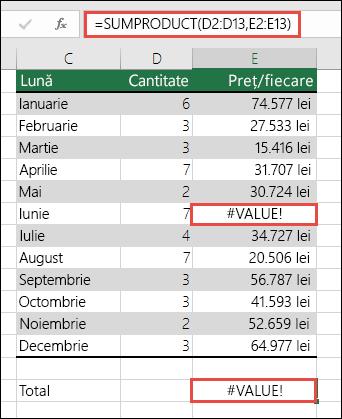 Formula din celula E15 afișează o eroare #VALOARE!, deoarece în coloana E există o eroare #VALOARE!.