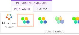 Butonul modificare culori din grupul stiluri SmartArt