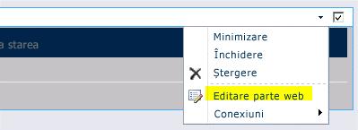 Comanda Editare parte web din meniul Parte web