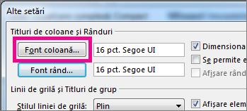 Faceți clic pe Font coloană, apoi efectuați selecțiile dvs.