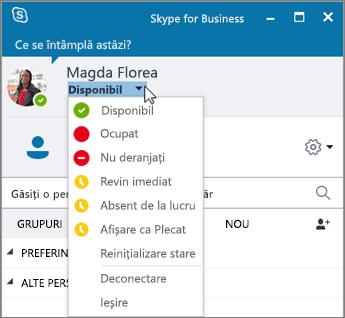 Captură de ecran a ferestrei Skype for Business, cu meniul Stare deschis.