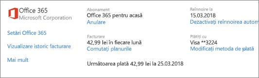 Pagina Servicii și abonamente, afișând detaliile de abonare pentru un abonament Office 365 pentru acasă.