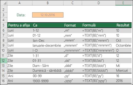 Coduri de format pentru zi, lună și an