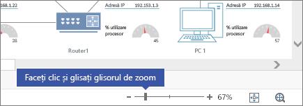 Cursor de zoom în colțul din dreapta jos, cu butoanele - și +, 67%