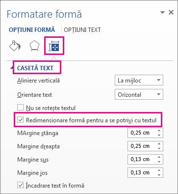 Selectarea redimensionare formă pentru a se potrivi cu textul în panoul formatare formă