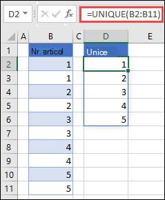 Exemplu de utilizare = UNIQUE (B2: balasa) pentru a returna o listă unică de numere