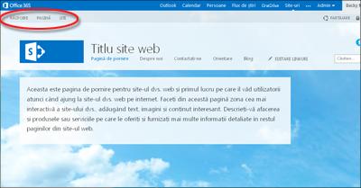 Aspect implicit de pagină pentru site-ul web public Office 365