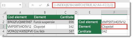 Utilizarea funcțiilor INDEX și MATCH pentru a căuta valori cu mai mult de 255 de caractere