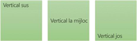 Trei opțiuni text-aliniere verticală: partea de sus, de mijloc și de jos