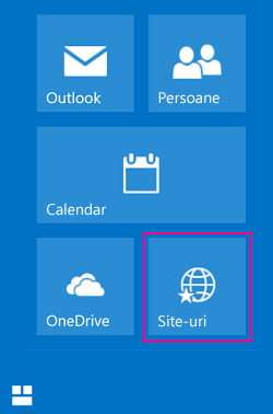 Select the tile Sites to see a list of SharePoint sites