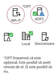 Toate hibrizi trebuie aceste elemente - un produs server locală, un AAD conectarea server, locală Active Directory, opțional ADFS și proxy invers.