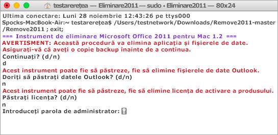 Rulați instrumentul Remove2011 utilizând Control + clic pentru a deschide.
