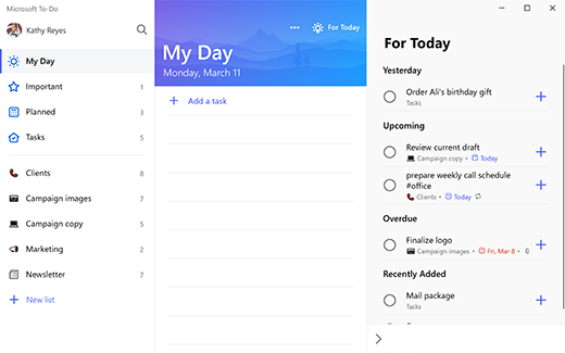 Captură de ecran cu to-do din Windows 10, afișând ziua mea cu sugestii pentru astăzi, grupată de ieri, viitoare, depășită și adăugată recent