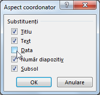Afișați sau ascundeți substituenții din coordonatorul de diapozitive