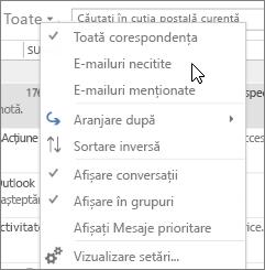 Captura de ecran afișează opțiunea Corespondență necitită selectată din meniul vertical Toate din panglica de inbox.