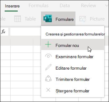 Opțiunea Inserare formular nou din Excel Online