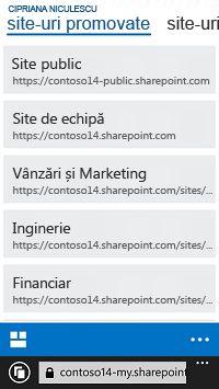 Site-uri promovate din SharePoint Online pe un dispozitiv mobil