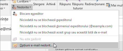 Captură de ecran a butonului Opțiuni E-mail nedorit