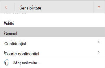Captură de ecran cu etichetele de sensibilitate din Office pentru Android