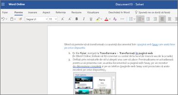 Un document cu imagini în Word online