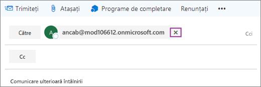 Captura de ecran afișează linia Către a unui mesaj de e-mail, cu opțiunea de a șterge adresa de e-mail a destinatarului.