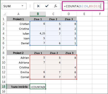 Utilizarea funcției COUNTA pentru a număra 2 intervale de celule