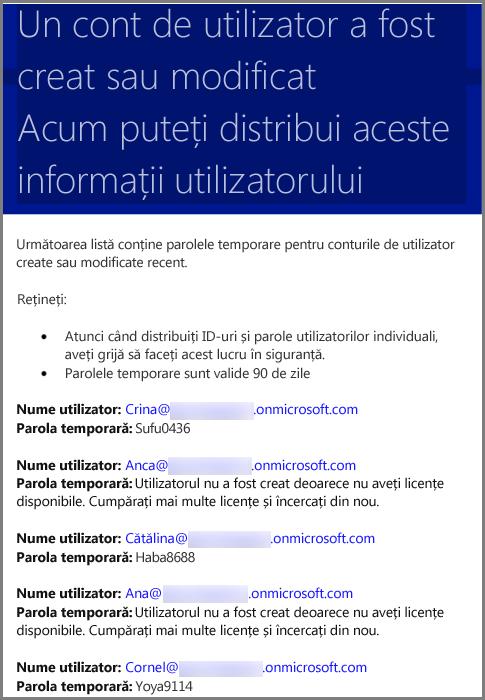 Un mesaj de e-mail eșantion cu informații despre acreditările de utilizator
