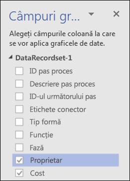 Aplicarea Graficelor de date pentru diagramele cu Vizualizator date Visio utilizând panoul Grafice de date