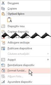 Faceți clic dreapta pe o miniatură de diapozitiv pentru a adăuga o imagine de fundal în diapozitiv