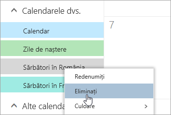 O captură de ecran a opțiunii Eliminare calendar