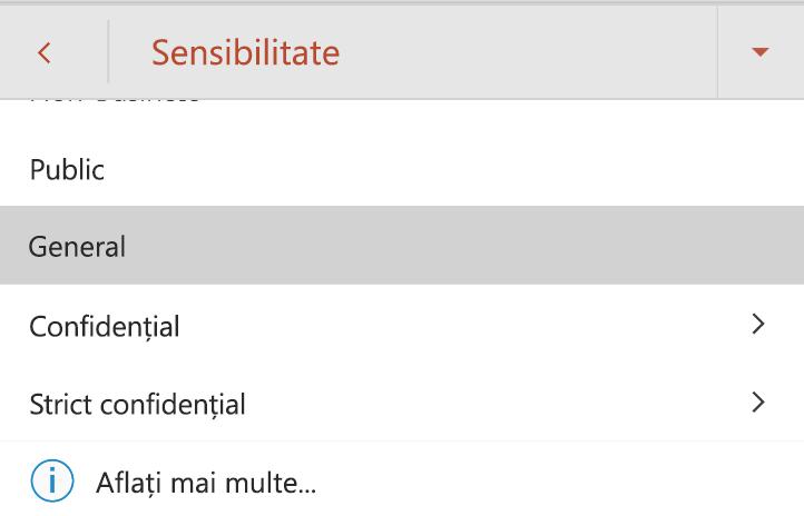 Meniul sensibilitate pe un dispozitiv Android cu etichete sensibilitate afișate