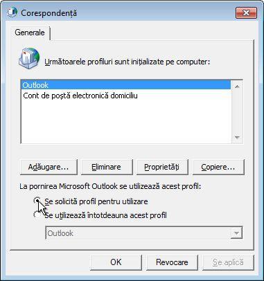 Comanda Se solicită profil pentru utilizare în caseta de dialog Corespondență