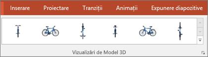 Galeria Vizualizări de modele 3D vă oferă câteva presetări utile pentru a aranja vizualizarea unei imagini 3D