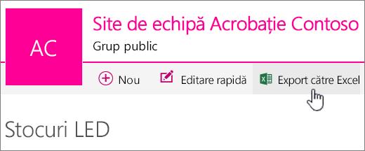 Listă SharePoint Online cu Export în Excel evidențiată