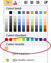 Opțiunea de culori recente