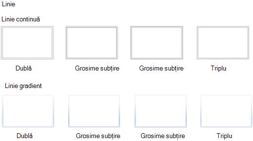 Stiluri de linie care nu sunt acceptate în Visio pentru web.