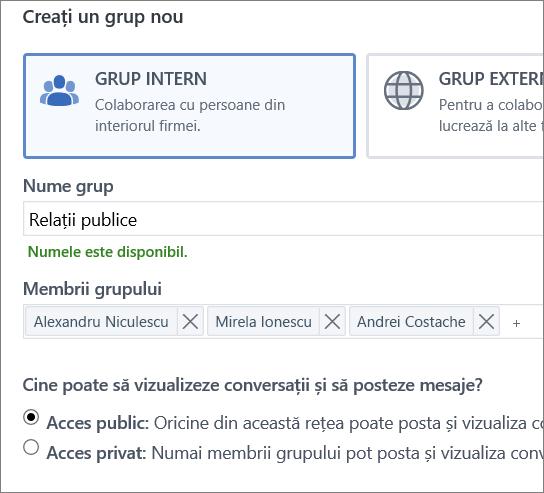Creați un grup