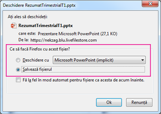 Ce sa facă Firefox cu acest fișier?
