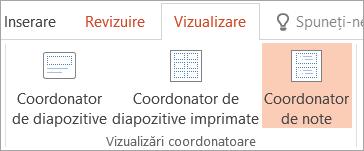 Vizualizarea coordonator de note