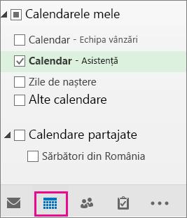 Alegeți vizualizarea calendarului