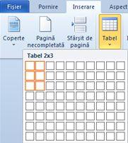 Inserarea unui tabel
