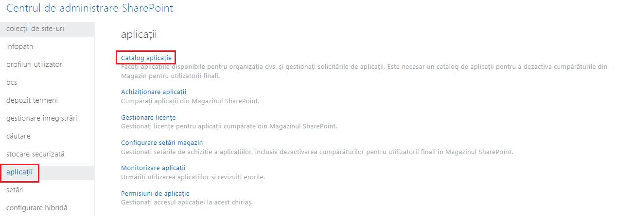 Captură de ecran cu categoriile de aplicații din centrului de administrare SharePoint.