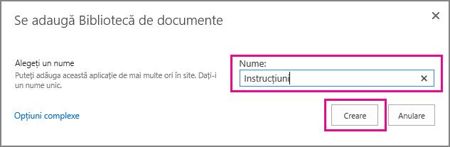 Tastați un nume pentru biblioteca de documente și alegeți Creare.