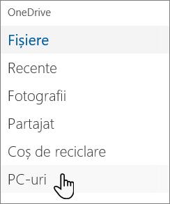 Navigare în partea stângă în portalul OneDrive care afișează PC-uri