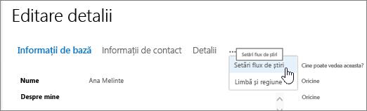 Mouse-ul mențineți indicatorul peste punctele de suspensie pe pagina Editare detalii de editare profilul meu
