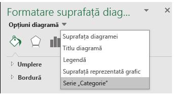 Selectarea opțiunilor din seria de diagrame din Excel Map