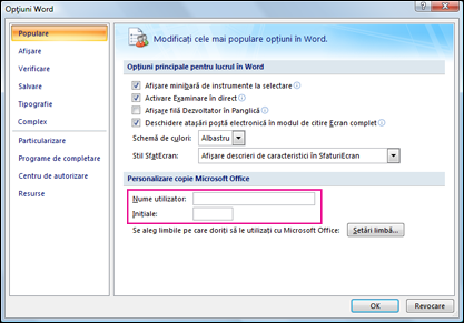 Opțiuni Word 2007 personalizare